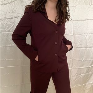 Long sleeve two piece maroon pants suit size 10